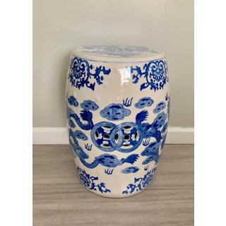 Vintage Chinoiserie Off White and Blue Ceramic Garden Stool / Side Table With Dragon Design Preview
