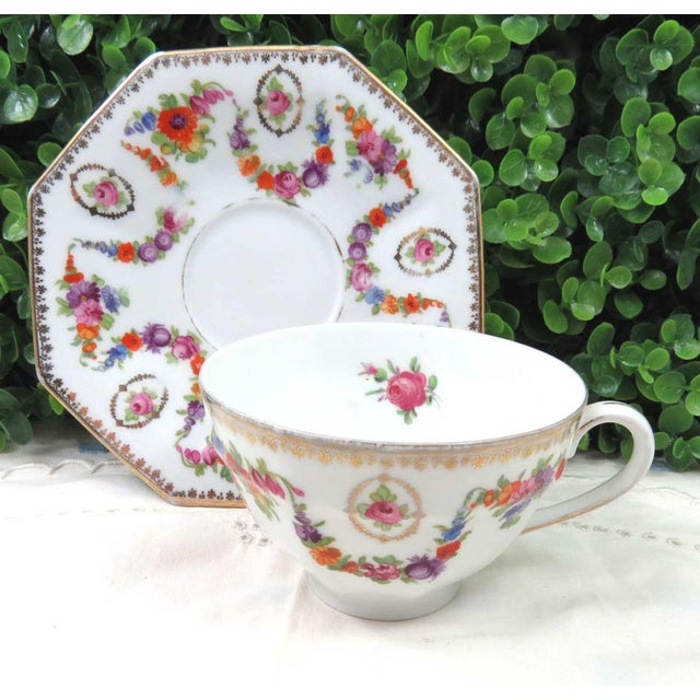 Vintage Mismatched Fine China, 5 Pc Place Setting - Image 7 of 10