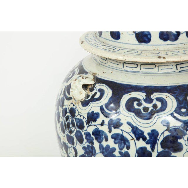 Blue 1960s Chinese Export Jars With Lids - a Pair For Sale - Image 8 of 11