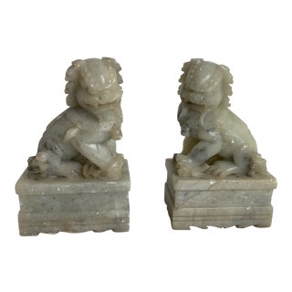 Vintage Carved Soapstone Foo Dog Bookends- Pair For Sale