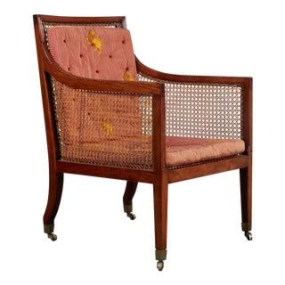 18th Century George III Mahogany Library Chair on Castors