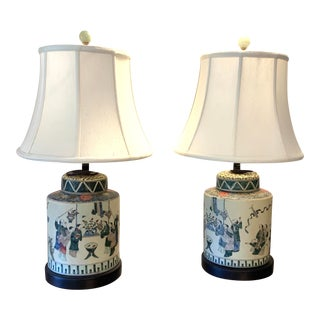 Vintage Mid-Century Chinese Hand-Painted Table Lamps - a Pair For Sale