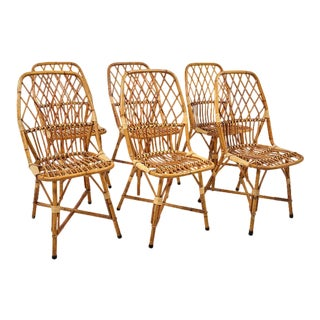1940s French Rattan Dining Chairs- Set of 6 For Sale