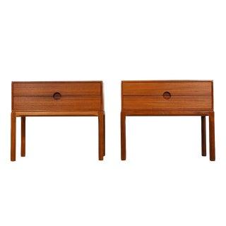 Petite Pair of Danish Teak Nightstands / Side Tables by Aksel Kjersgaard For Sale