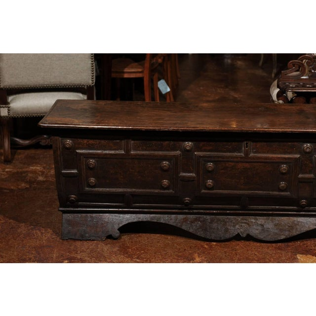Early 18th Century Italian Hand-Carved Walnut Cassone Chest from Siena For Sale - Image 4 of 10