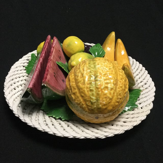 Beautiful hand-painted fruit basket centerpiece sculpture. Items has not scratches, no defects.