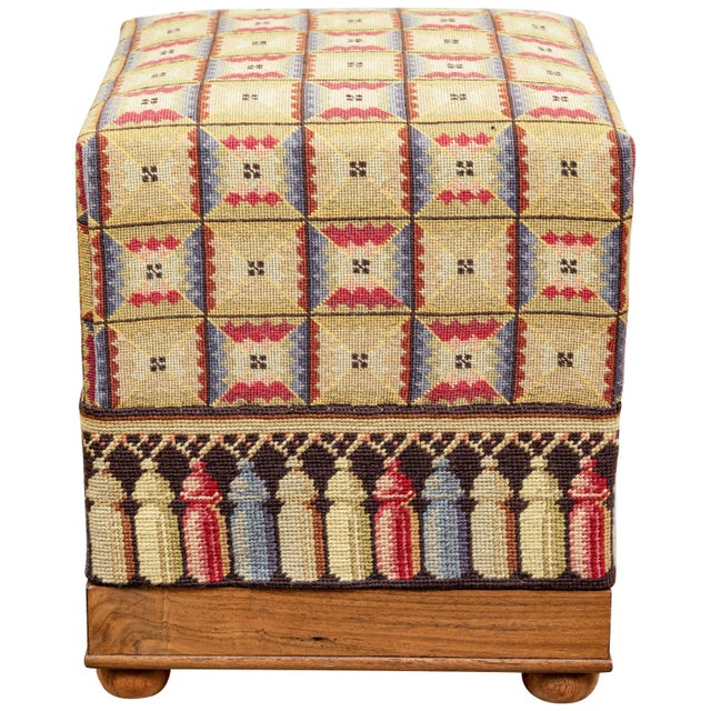 White Vintage Needlepoint Foot Stool For Sale - Image 8 of 8