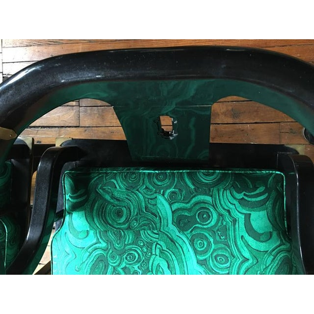Century Furniture James Mont Style Malachite Lacquer Lounge Chairs by Century- A Pair For Sale - Image 4 of 7
