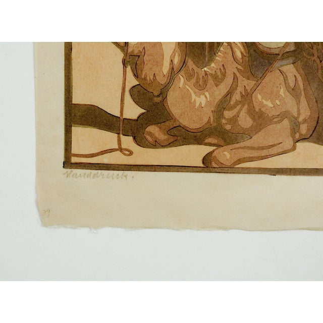 Resting camel linocut in color on thin Japan paper by Norbertine von Bresslern-Roth (1891-1978) Austria. Renowned artist...
