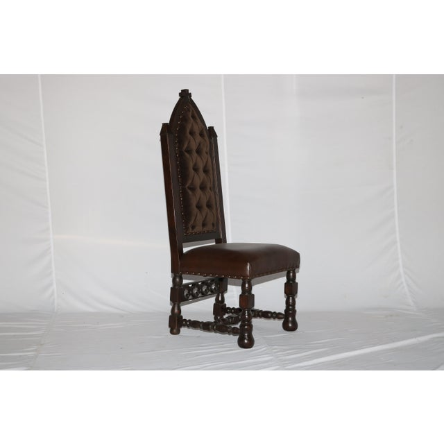New Solid Wood Cross Carving Easy to clean Leather Seat Faux Crocodile embossing Back Tufted Velvet