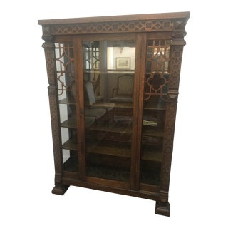 19th Century Traditional Quater-Sawn Oak Display Cabinet For Sale