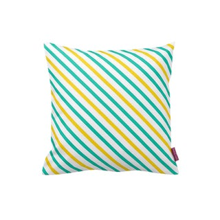 Striped Green and Yellow Pillow Cover