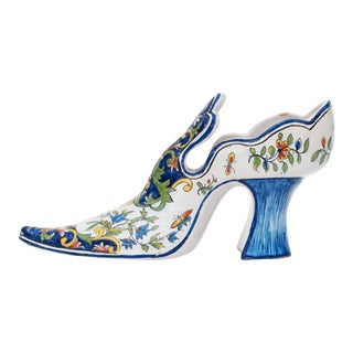 19th Century French Faience Lady's Shoe Vase For Sale