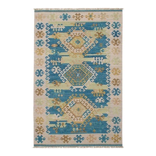 Turkish Blue & Beige Kilim Rug - 5′ × 8′