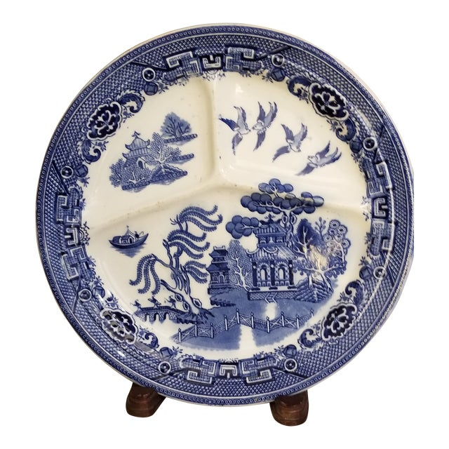 Holland Blue and White Maastricht 3 Part Ironstone Plate For Sale