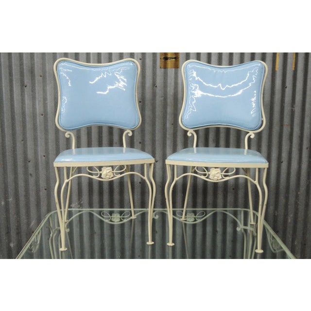 Vintage 5 Piece Blue Wrought Iron Patio Dining Set Table 4 Chairs Mid Century Woodard For Sale - Image 11 of 11