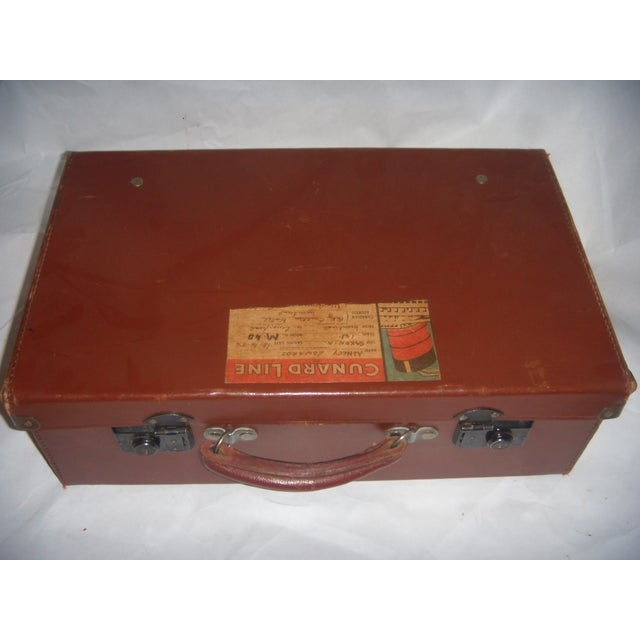 Vintage English Brown Leather Suitcase - Image 6 of 11