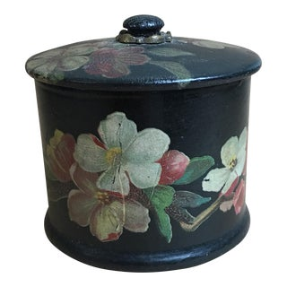 Vintage French Paper Mache Black Floral Lidded Box For Sale