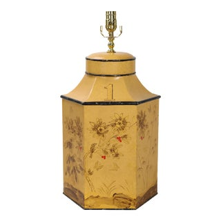 Vintage English Export Chinoiserie Style Yellow Hexagonal Tea Caddy Lamp For Sale