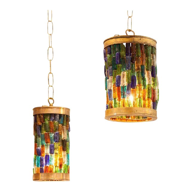 Forced Pair of Midcentury Murano Multi-Color and Brass Pendants - Image 1 of 3