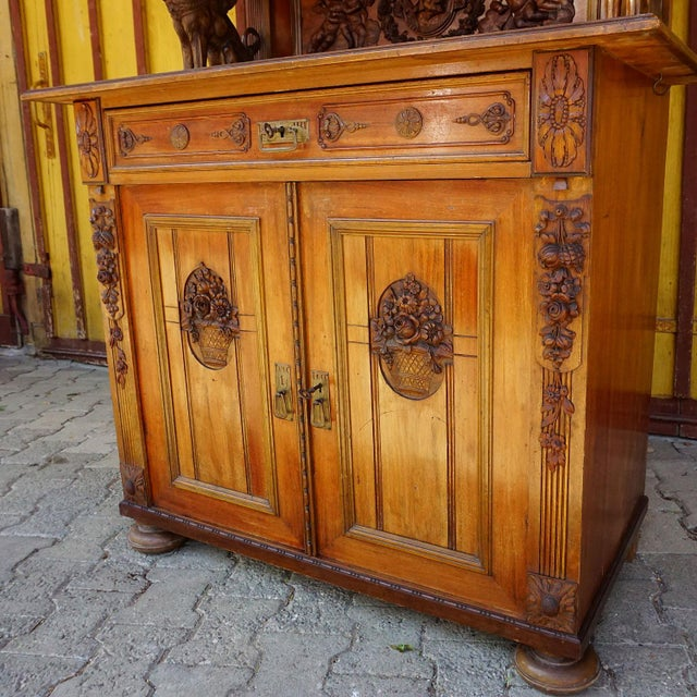 Antique Wooden Carved Cupboard With Several Carvings For Sale - Image 4 of 13