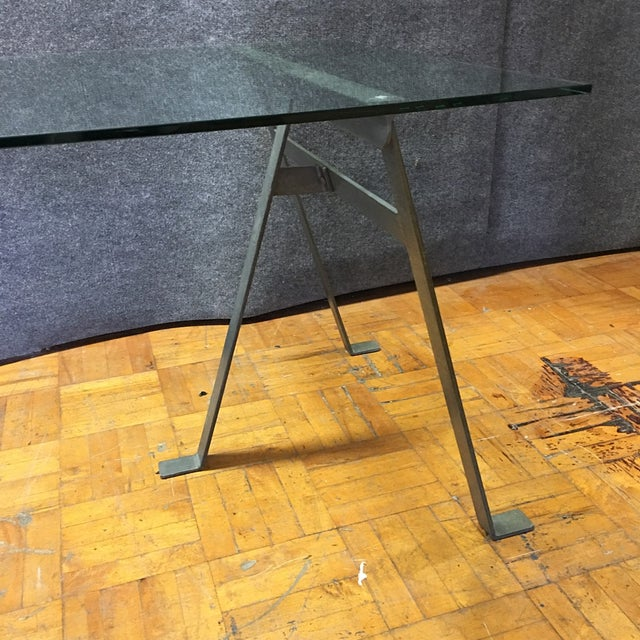 Glass & Metal Architect's Desk or Dining Table - Image 7 of 8