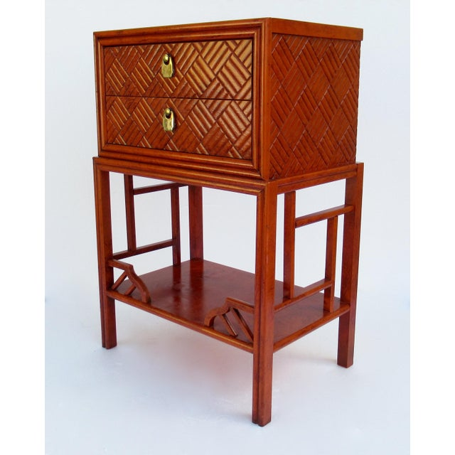 Thomasville C.1970s Vintage Chinoiserie Orange Lacquered Nightstand, Side/End Reading Table by Thomasville For Sale - Image 4 of 13