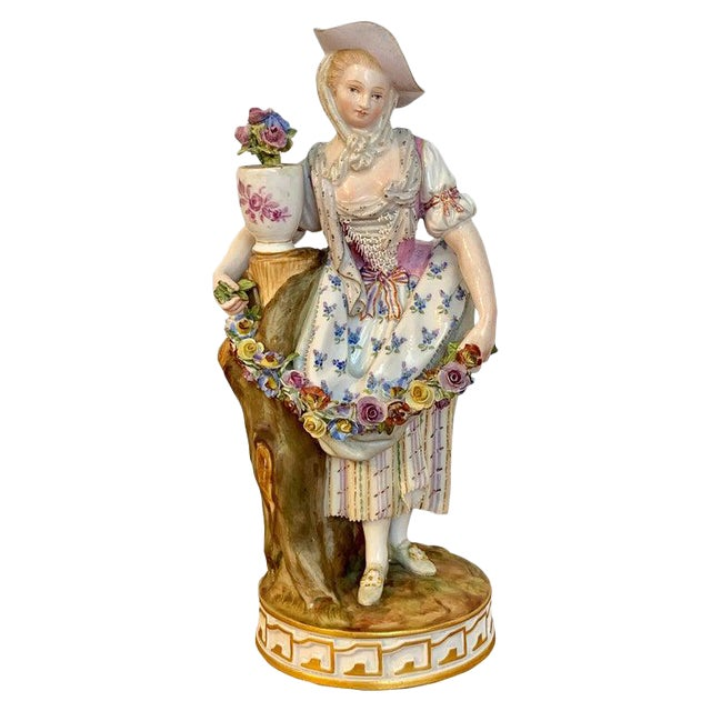 Fine Late 19th Century Meissen Figurine of a Lady Gardener For Sale