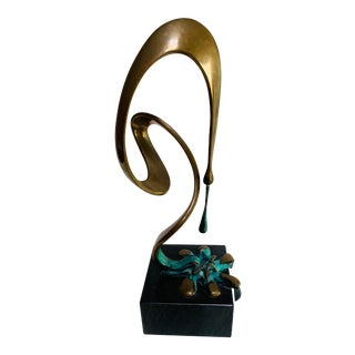 Abstract Modern Bronze Freeform Sculpture Signed Bennett For Sale