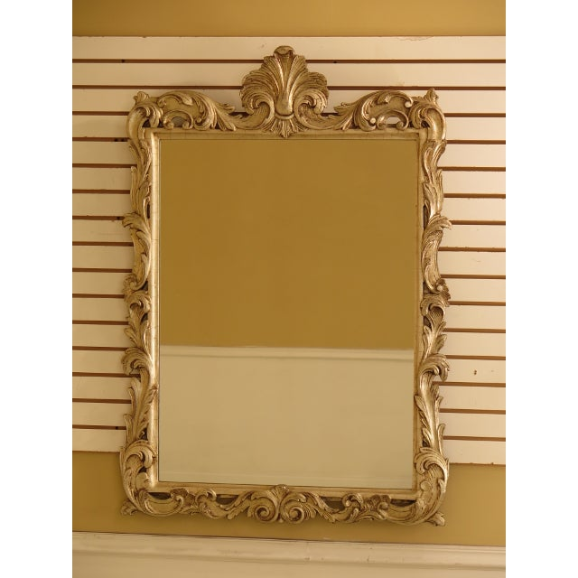 French Louis XV Style Silver Decorated Wood Framed Mirror For Sale - Image 11 of 11
