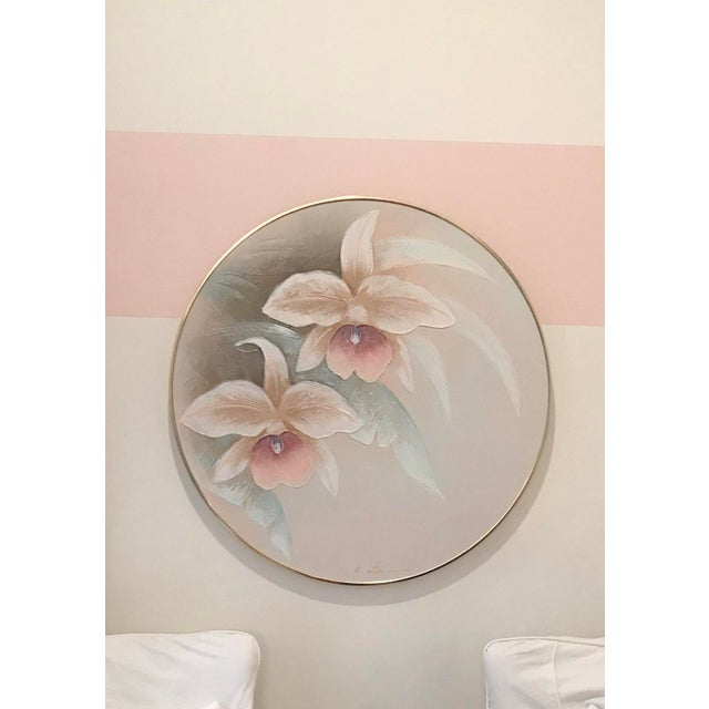 1980s Art Deco Revival Floral Round Oil Painting, Framed For Sale In Chicago - Image 6 of 6