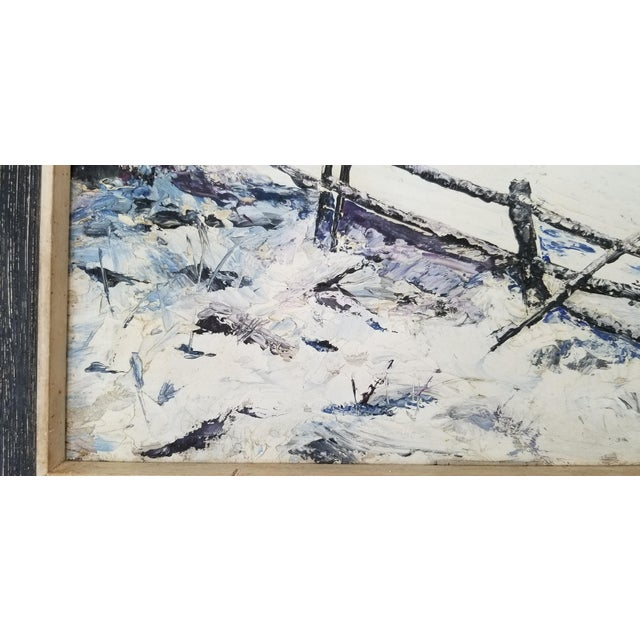 White 1970 Vintage Snowscaped Oil Painting , Signed . For Sale - Image 8 of 12