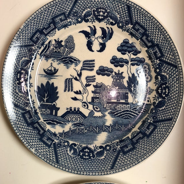 Asian Blue and White Chinoiserie Willow Plates- Japan - Set of 3 For Sale - Image 3 of 7