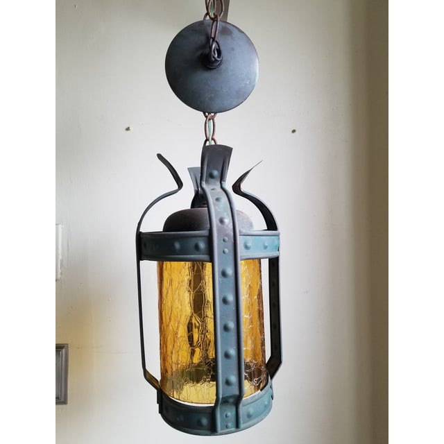 Orange Antique Art & Craft Copper & Amber Glass Lantern For Sale - Image 8 of 11