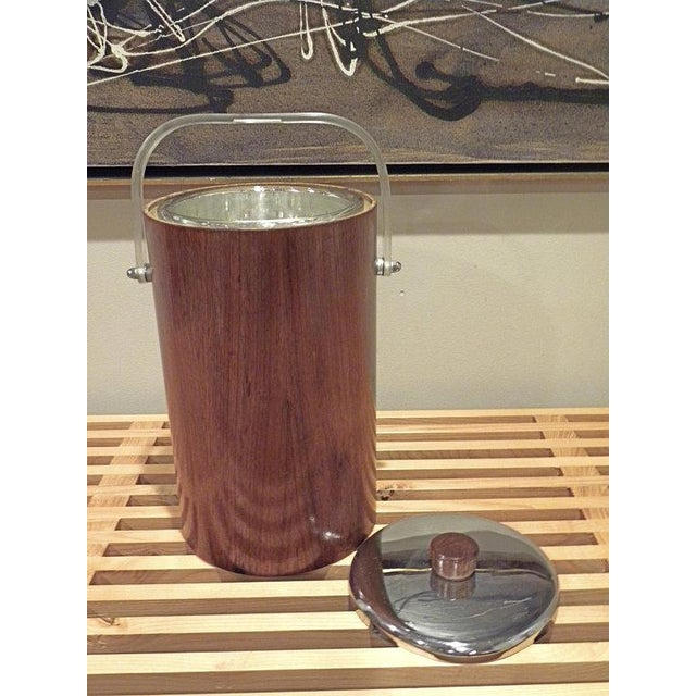 Mid-Century Modern Thermos Mid-Century Vintage Teak Ice Bucket With Glass Liner For Sale - Image 3 of 8