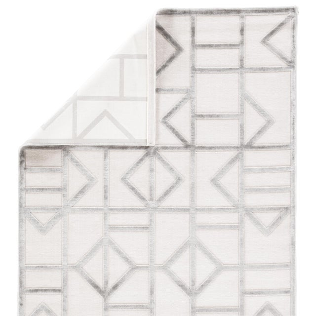 Contemporary Jaipur Living Cannon Geometric White/ Silver Area Rug - 7′6″ × 9′6″ For Sale - Image 3 of 6