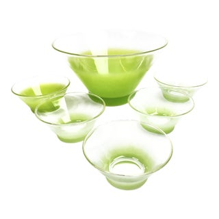 Vintage Blendo Ombre Lime Green Bowls - Set of 6 For Sale