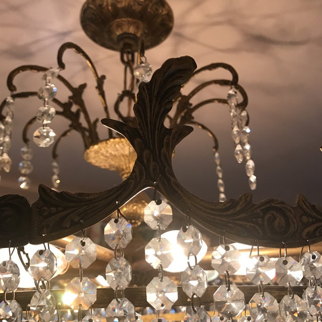 Art Deco Crystal and Brass Light Fixture - Image 4 of 7