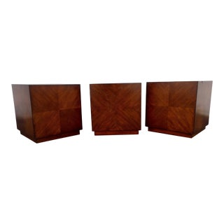 Mitchell Gold & Bob Williams Dark Ash Wood Cube End Tables- Set of 3