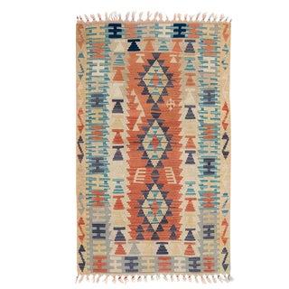 Vintage Turkish Kilim Rug - Turquoise and Faded Orange Details For Sale