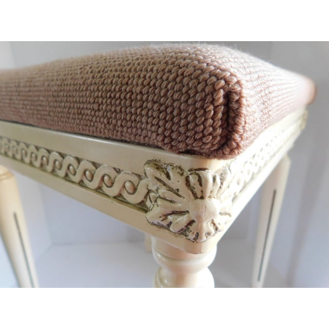 Vintage Petit Point Floral Bench/Table For Sale - Image 4 of 13