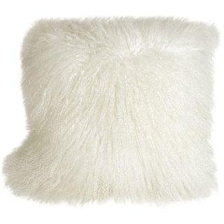 Mongolian Sheepskin Snow White 18x18 Pillow For Sale