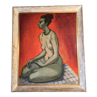Large Original Vintage Alicia Cajiao Female Nude Painting For Sale
