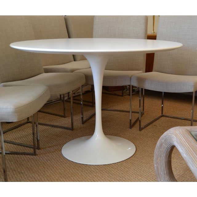 Original Eero Saarinen Round Antique White Laminated Tulip Dining Table Knoll For Sale - Image 13 of 13