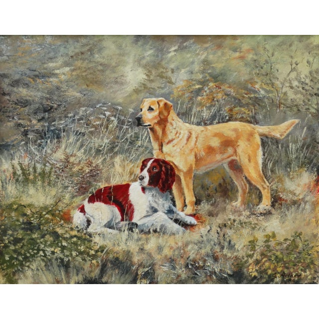 A late 20th-Century English School oil painting of 2 dogs, titled, 'The Dogs' signed and dated '86 (for 1986). It depicts...