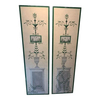 Hand-Painted and Decoupaged Garden Screens With Urn Motif - A Pair For Sale