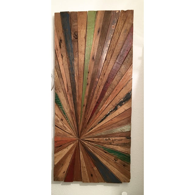 Boho Chic Solid Wood Sunburst Wall Sculpture For Sale - Image 3 of 9