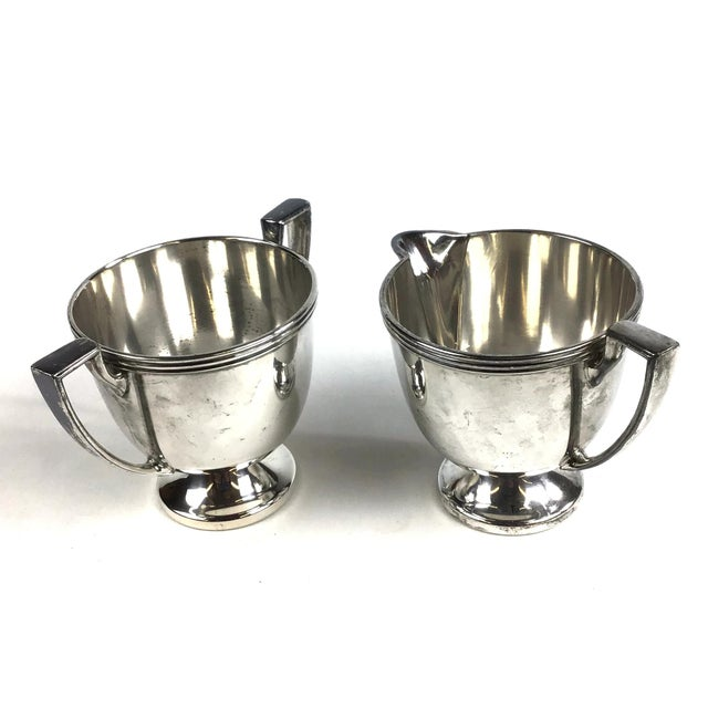 Art Deco Oxford Silver Plated Sugar and Creamer - a Pair For Sale - Image 3 of 10