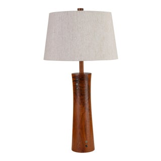 Wooden Table Lamp With Tile Inlay by Gordon & Jane Martz For Sale