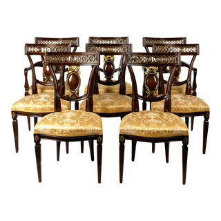 European Mahogany Dining Chairs - Set of 8 For Sale